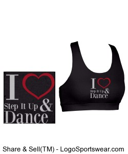I Love Step It  Up and Dance Sports Bra (Youth Black) Design Zoom